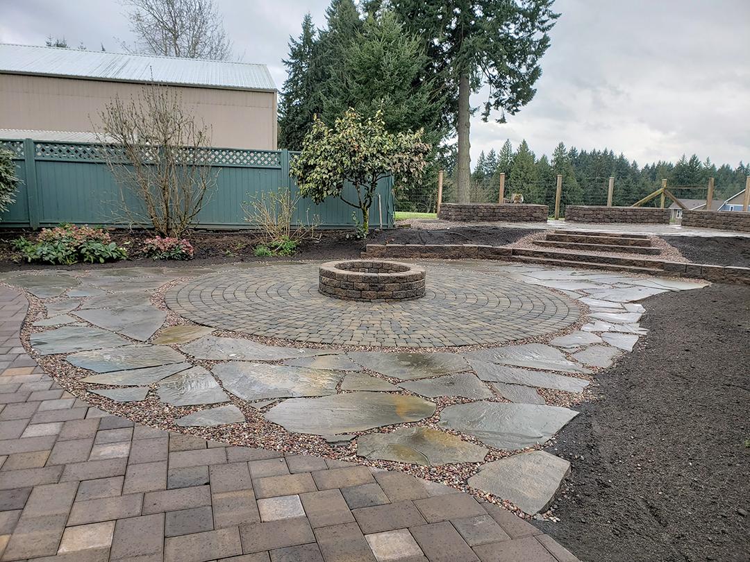 Brick patio installation photo